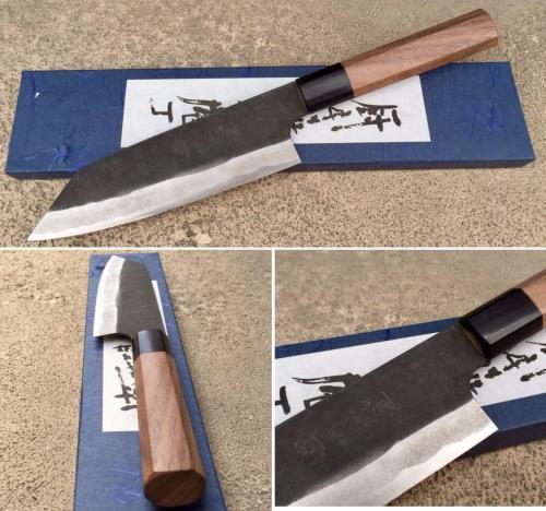 Couteau Japonais Artisanal Kamo Finition Brut De Forge Bunka 165 Mm