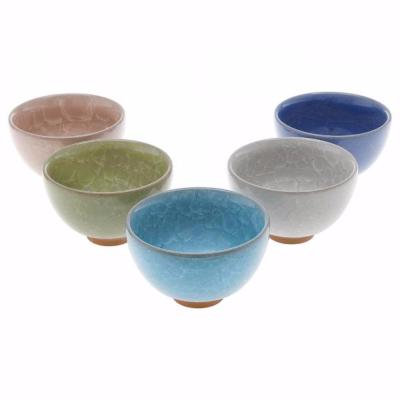 LOT DE 5 TASSES A THE JAPONAISE CRAQUELE