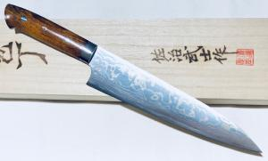 "COUTEAU ARTISANAL ""RAINBOW DAMASCUS"" DE TAKESHI SAJI - CHEF 210 MM"