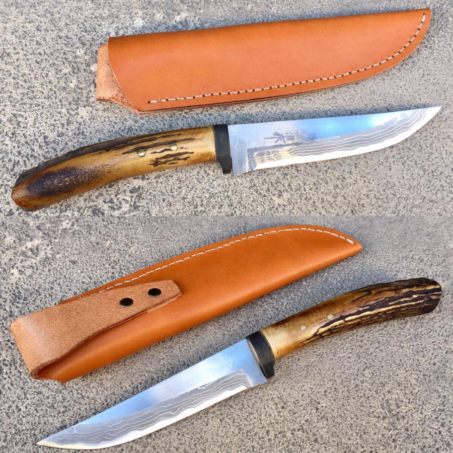 couteau de chasse japonais artisanal bois de cerf damas. Black Bedroom Furniture Sets. Home Design Ideas